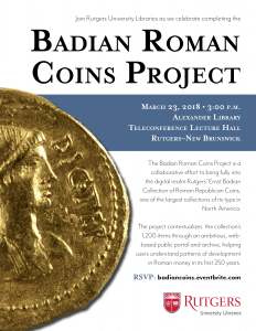Badian Roman Coins Project Celebration @ Teleconference Lecture Hall, Alexander Library | New Brunswick | New Jersey | United States
