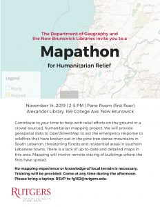 Mapathon for Humanitarian Relief @ Alexander Library, Pane Room