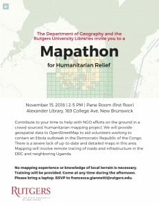 Mapathon for Humanitarian Relief @ Alexander Library, Pane Room (first floor)
