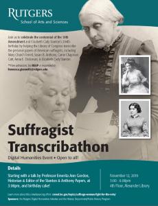 Suffrage Transcribathon @ Digital Humanities Lab, Alexander Library