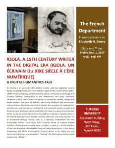 #Zola. A 19th Century Writer in the Digital Era @ Academic Building West Wing, 4th Floor, Room #4052 | New Brunswick | New Jersey | United States